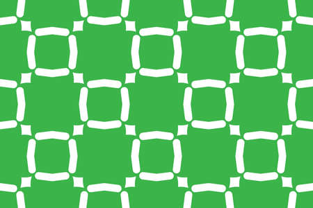 Vector seamless geometric pattern. Shaped white lines, squares, diamonds on green background.