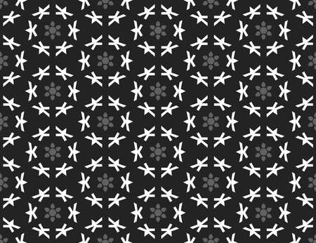 Vector seamless geometric pattern. Shaped grey flowers and white shapes on black background.  イラスト・ベクター素材