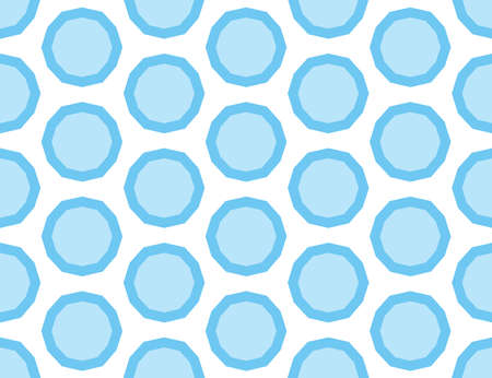 Vector seamless geometric pattern. Shaped light and dark blue circles, bubbles on white background.  イラスト・ベクター素材