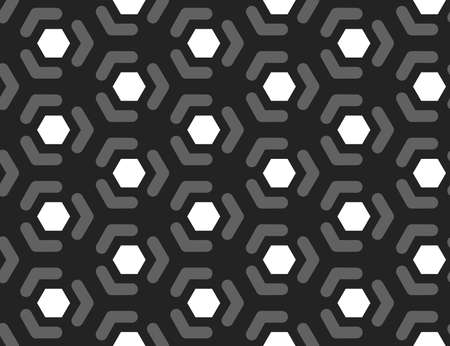 Vector seamless geometric pattern. Shaped white hexagons, grey lines, arrows on black background.  イラスト・ベクター素材