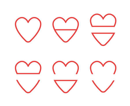 Vector icon set of hearts. Flat color style.  Illustration