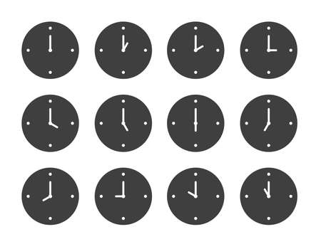 Vector icon set of clock. Flat color style.  Çizim