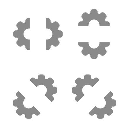 Vector icon set of half gears. Flat color style.