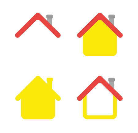 Vector icon set of house. Flat color style.