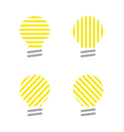 Vector icon set of light bulbs. Flat color style.