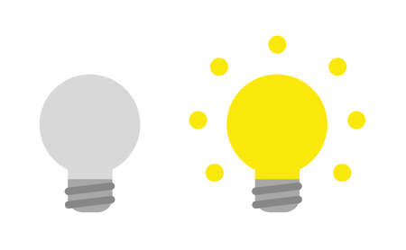Vector icon set of grey and glowing light bulbs. Flat color style.  イラスト・ベクター素材