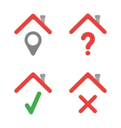 Vector icon set of houses with map pointer, question mark, check mark and x mark. Flat color style.