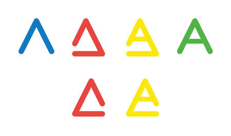 Vector icon set of letter A. Flat color style.