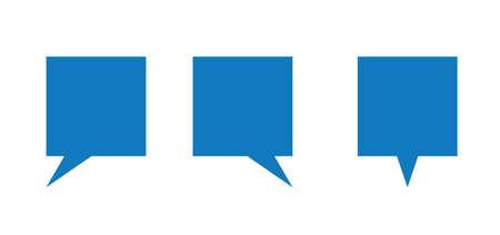 Vector icon set of square speech bubbles. Flat color style. Ilustração
