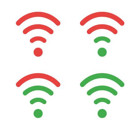 Vector icon set of wifi symbols. Flat color style.  イラスト・ベクター素材
