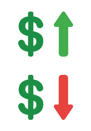Vector icon set of dollar up and down. Flat color style. Ilustrace