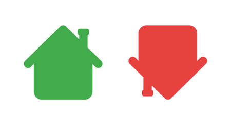 Vector icon set of houses up and down. Flat color style.