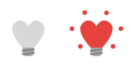 Vector icon set of heart shaped lightbulbs, grey and glowing red. Flat color style.