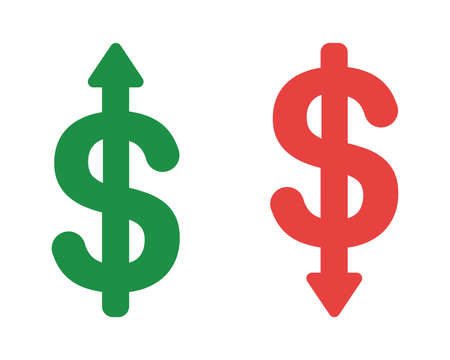 Vector icon set of dollar symbols with arrow moving up and down. Flat color style.  イラスト・ベクター素材