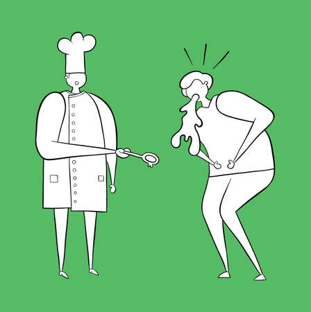 The cook has cooked bad food and the man vomits. Vector illustration. White and black outlines and colored background.