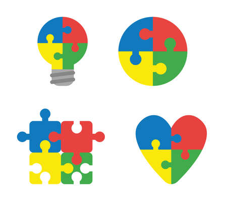 Vector icon set of connected puzzle pieces shaped light bulb, circle, square and heart. Flat color style.