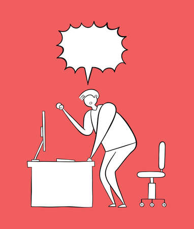 The man is at the computer desk and yelling frustrated. Vector illustration. White and black outlines and colored background.