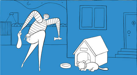 At night the dog is sleeping and the thief is trying to enter the house by walking on his toes. Vector illustration. White and black outlines and colored background.