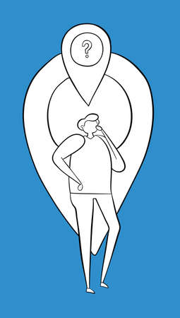 The man is in front of the map pointer and thinks where he is. Vector illustration. White and black outlines and colored background.
