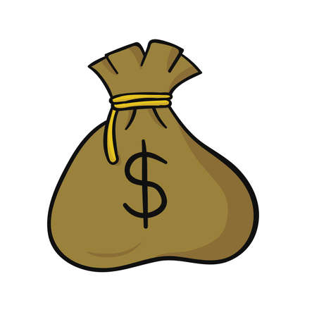 Dollar money sack. Hand drawn. Black outlines and colored. Ilustração