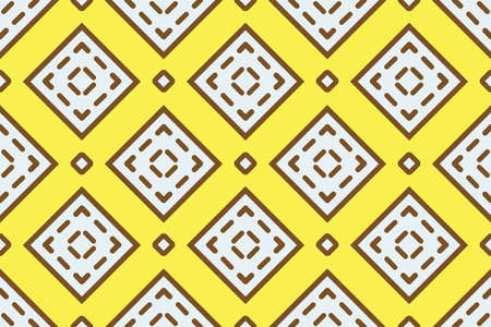 Vector seamless geometric pattern. Shaped white and brown squares, outlines, lines on yellow background.  イラスト・ベクター素材