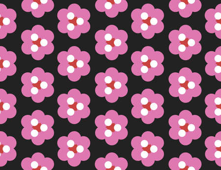 Vector seamless geometric pattern. Shaped red, white and pink circles, triangles, flowers on black background.