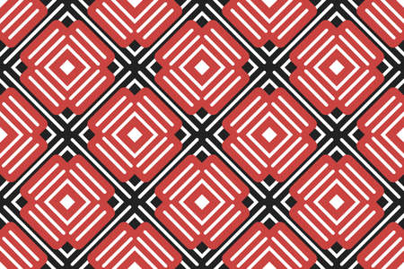 Vector seamless geometric pattern. White lines, red and black shapes.