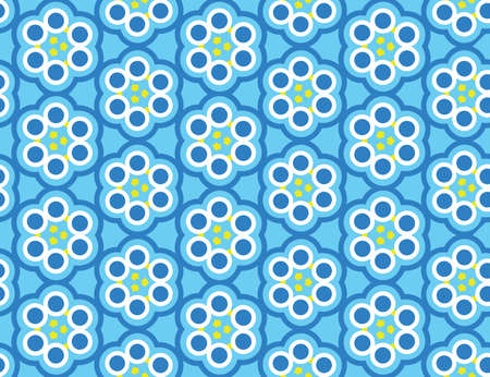 Vector seamless geometric pattern. Shaped flowers, circles, arrows in blue, white and yellow colors.