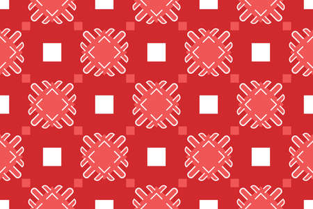 Vector seamless geometric pattern. Shaped white and red squares, lines and red background.  イラスト・ベクター素材