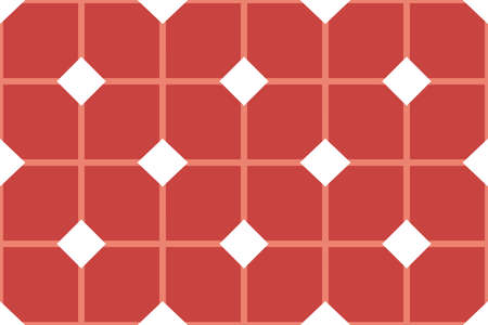 Vector seamless geometric pattern. Shaped white and red squares and lines and diamonds. Illusztráció