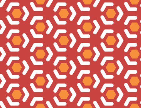 Vector seamless geometric pattern. Shaped orange hexagons, white lines, arrows on red background.