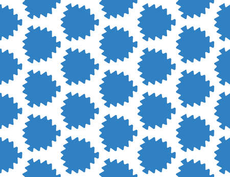 Vector seamless geometric pattern. Shaped blue leaves on white background.