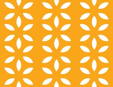 Vector seamless geometric pattern. White flowers on orange background.