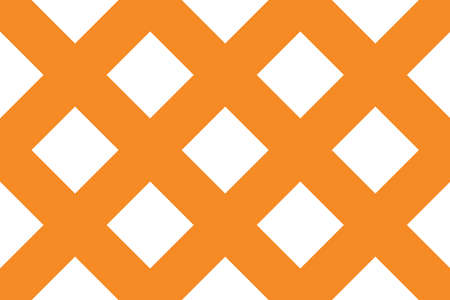 Vector seamless geometric pattern. Shaped 45 degree rotated white squares on orange background.