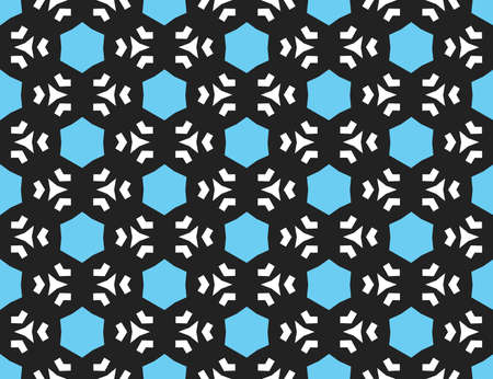 Vector seamless geometric pattern. Shaped blue hexagons, white lines and triangles on black background. Illusztráció