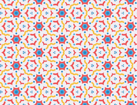 Vector seamless geometric pattern. red, blue, yellow wavy lines, shapes on white background.