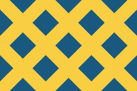 Vector seamless geometric pattern. Shaped 45 degree rotated blue squares on yellow background.  イラスト・ベクター素材