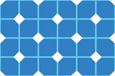 Vector seamless geometric pattern. Shaped white and blue squares and lines and diamonds. Illusztráció