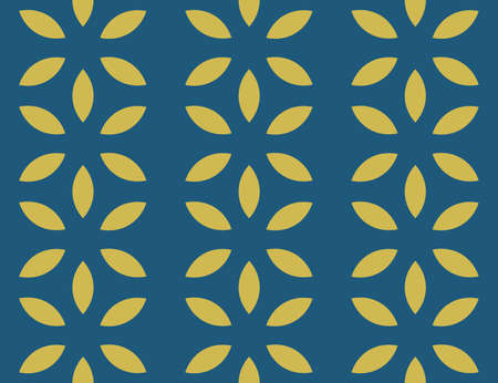 Vector seamless geometric pattern. Yellow flowers on blue background.  イラスト・ベクター素材