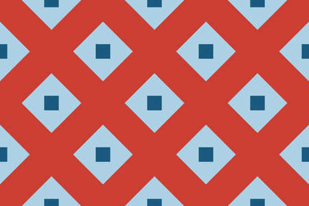 Vector seamless geometric pattern. Shaped light blue and dark blue squares on red background.