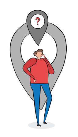 The man is in front of the map pointer and thinks where he is. Vector illustration. Black outlines, colored and white background.