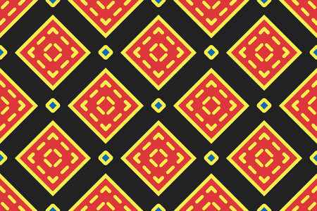 Vector seamless geometric pattern. Shaped yellow, red and blue squares, outlines, lines on black background.