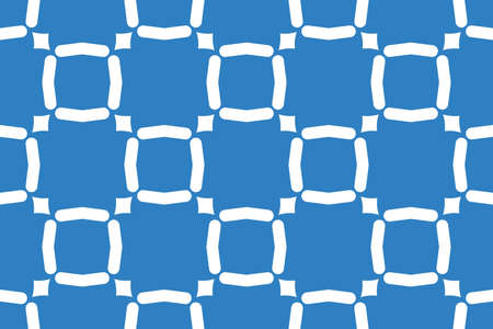 Vector seamless geometric pattern. Shaped white lines, squares, diamonds on blue background.