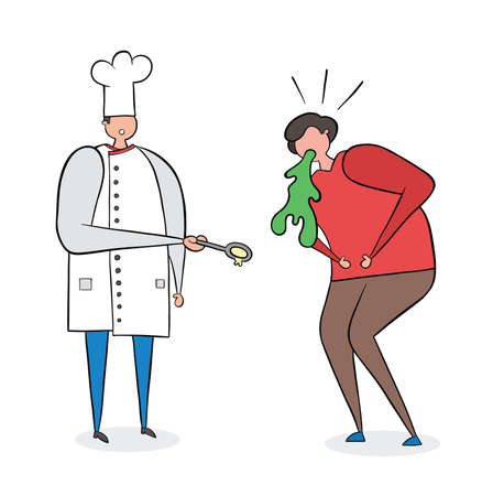 The cook has cooked bad food and the man vomits. Vector illustration. Black outlines, colored and white background.  Иллюстрация