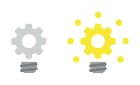 Vector icon set of gear light bulb, grey and glowing. Flat color style.