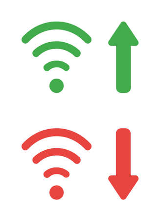 Vector icon set of wireless wifi symbols with arrow moving up and down. Flat color style.  イラスト・ベクター素材