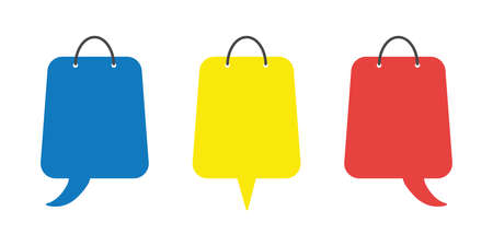 Vector icon set of shopping bags with speech bubbles. Flat color style.