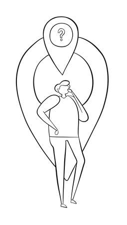 The man is in front of the map pointer and thinks where he is. Vector illustration. Black outlines and white background.