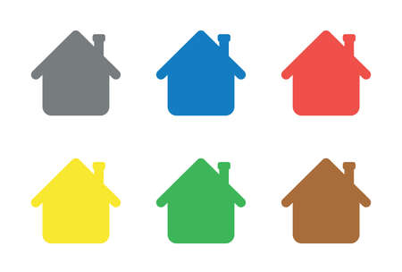 Vector icon set of houses. Flat color style.