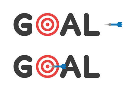 Vector icon set of goal text with bulls eye and dart hit the target. Flat color style.